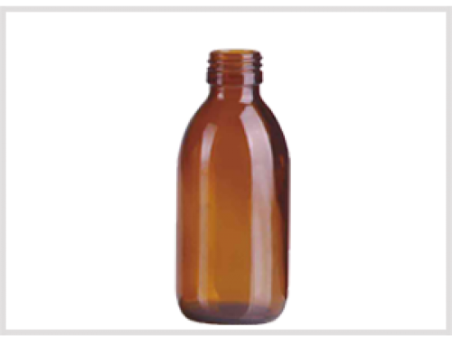 Amber Glass Syrup Bottle 200ml, Din28