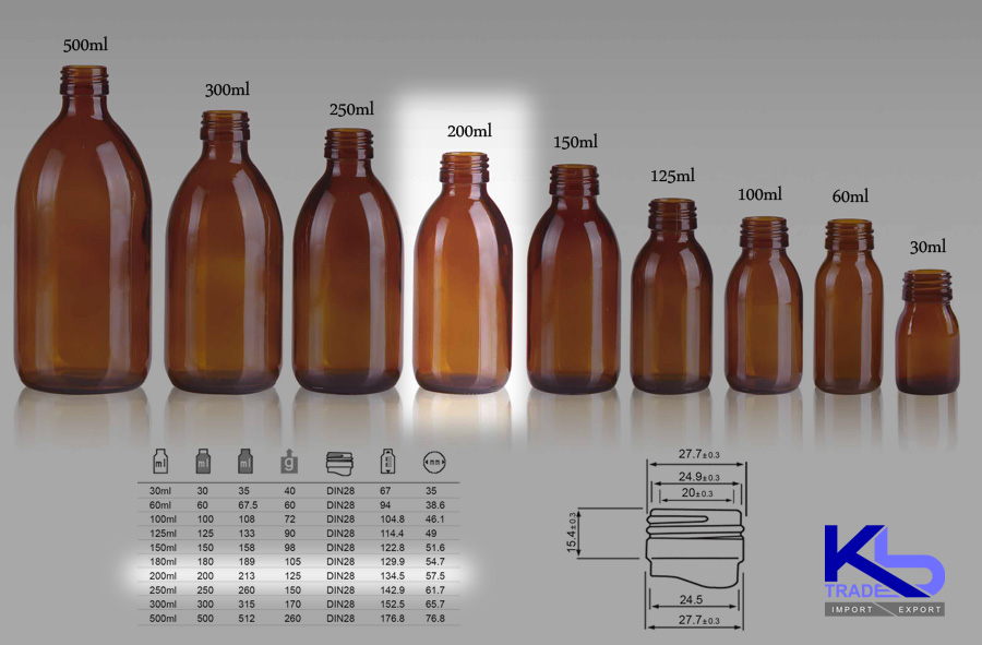 Kbtrade Amber Glass Syrup Bottle 200ml Din28