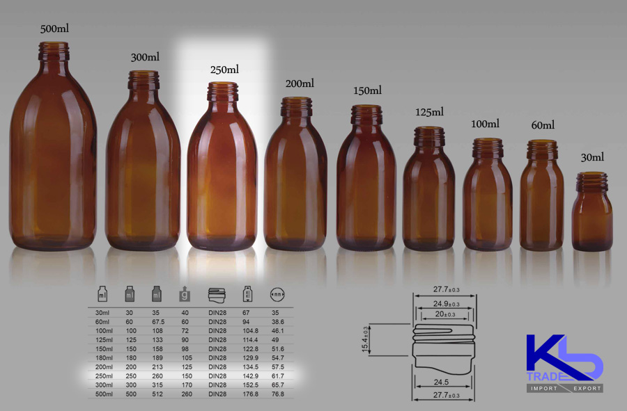Kbtrade Amber Glass Syrup Bottle 250ml Din28
