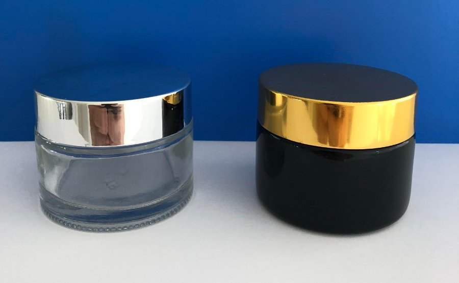 jars50mlwith silver and gold caps