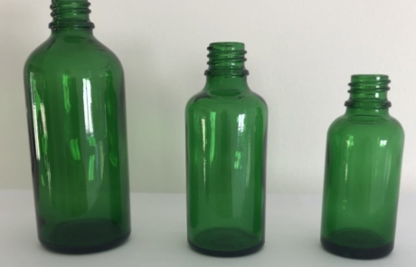 Green Essential Oil Bottles, 30-50-100ml, DIN 18